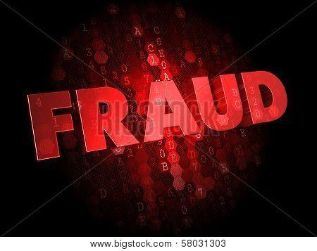 Fraud on Dark Digital Background.