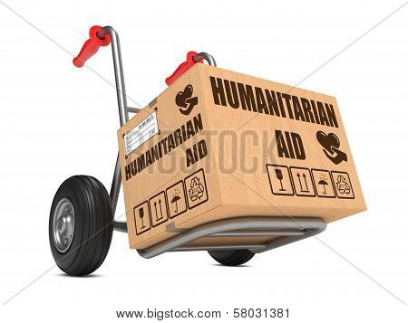 Humanitarian Aid - Cardboard Box on Hand Truck.