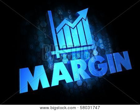 Margin Concept on Dark Digital Background.