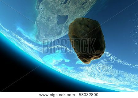 Meteor tumbling towards earth,Elements are from www.Nasa.gov