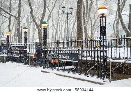 Bryant Park Subway Snow