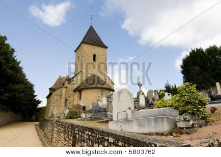 Village Church And Cemetery In France