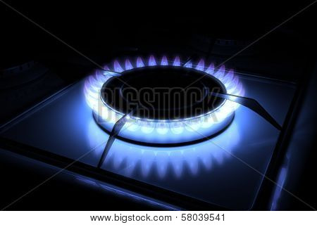 Gas stove burner with blue flame