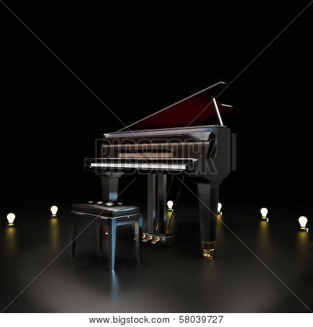 Elegant piano center stage with lighting accents