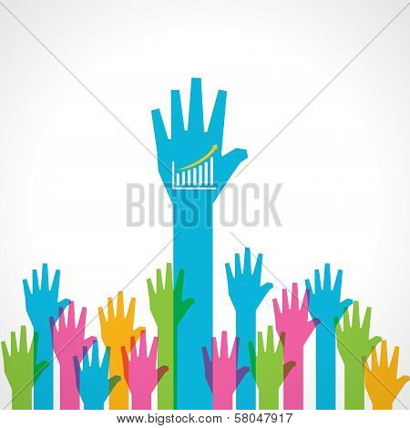 Colorful helping hand with business graph