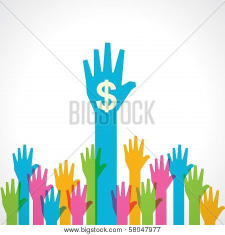 Colorful helping hand with dollar symbol