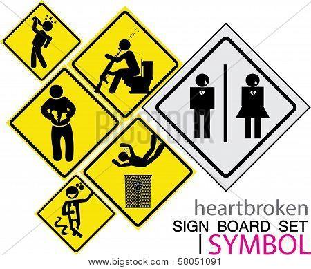 sign board-heartbroken sig board concept icon set