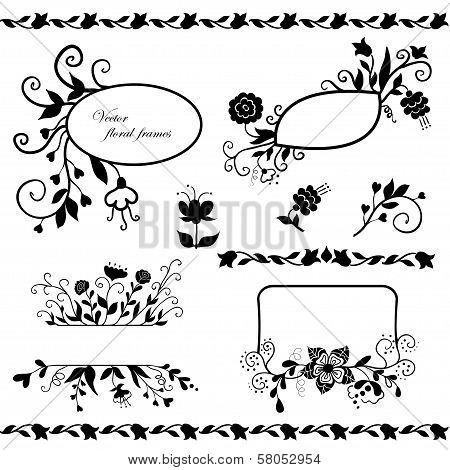 Vector set of floral frames