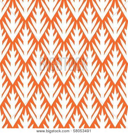 Simple trees geometric ikat seamless pattern in orange, vector