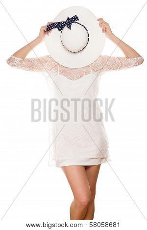 Hiding Face Behind Sun Hat