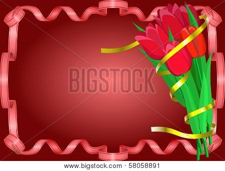 Red Tulips With Yellow Ribbon Are On Red Background.