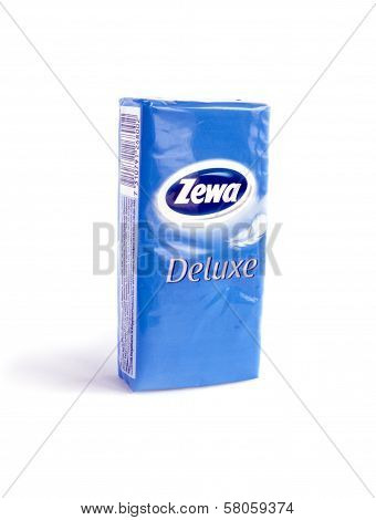Pack Of Zewa Deluxe Napkins Isolated On White Background