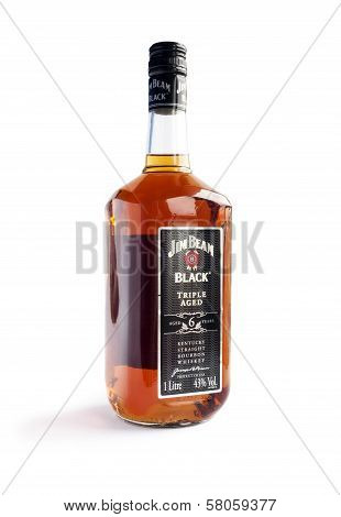 Bottle Of Jim Beam Black Isolated On White Background.
