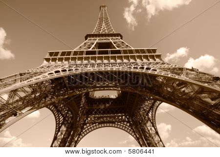 Eiffel Tower In Sepia