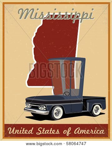 Mississippi road trip vintage poster