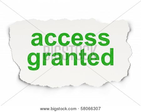 Privacy concept: Access Granted on Paper background