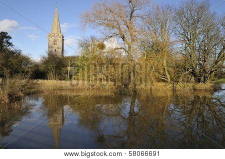 Ashleworth Church reflected in flood