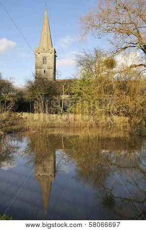 Ashleworth Church in flood