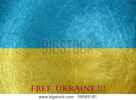 Free Ukraine On The Flag Of Ukraine