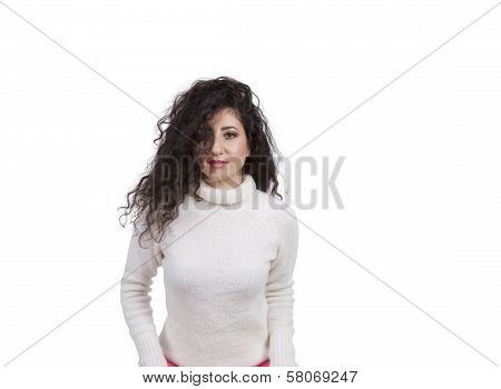 Gorgeous female fashion model looking at camera