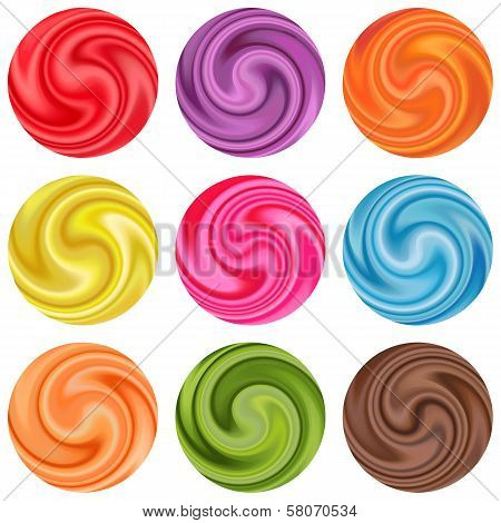 Set of yogurt cream curl or lollipop.