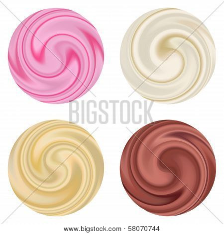 Set of milk yogurt cream curl isolated.