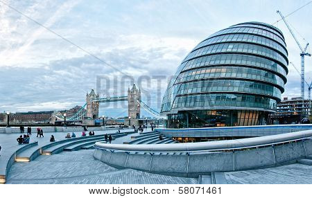 London cityscape with City Hall, Tower Bridge, England, UK