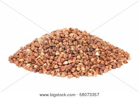 Pile Buckwheat Isolated On White Background.