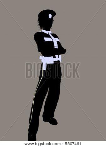 Female Police Officer Illustration Silhouette