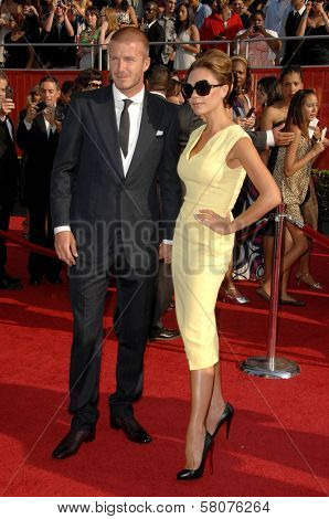 David Beckham and Victoria Beckham  at the 2008 ESPY Awards. Nokia Theatre, Los Angeles, CA. 07-16-08