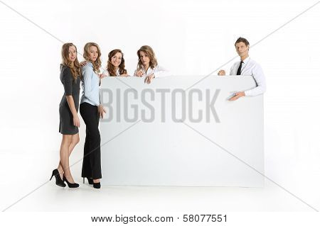 A group of young businessmen with whiteboards