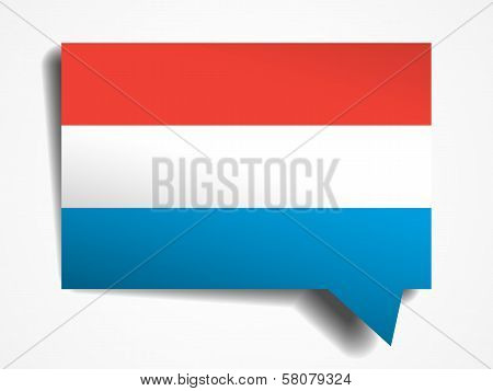 Luxemburg Flag Paper 3D Realistic Speech Bubble On White Background