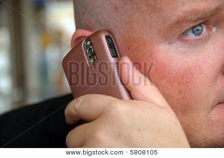 Close Up Guy Enjoying His Communication On Mobile Phone