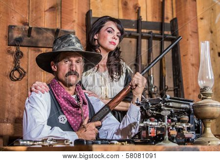 Western Sheriff Poses With Woman