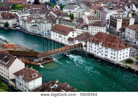 Aerial Shot Of Lucern, Switzerland