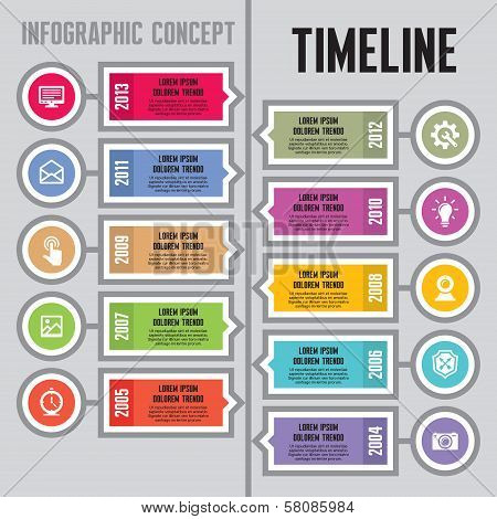 Infographic Vector Concept in Flat Design Style - Timeline & Steps - banners template