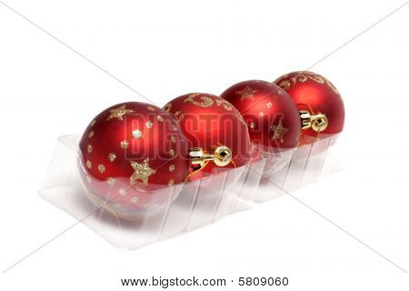 Red Cristmas Balls In Row