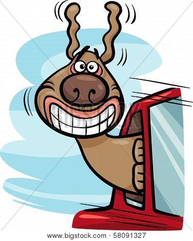 Dog In Car Cartoon Illustration