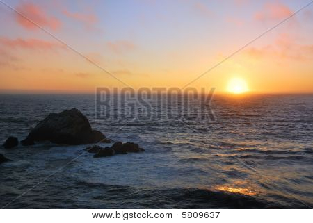 Sunset At San Francisco Ocean Beach