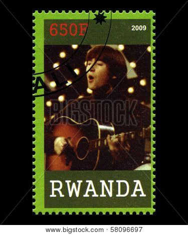 Beatles Postage Stamp From Rwanda
