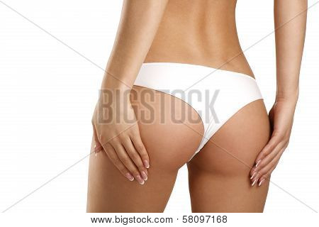 Closeup Of A Beautiful Woman Showing Perfect Buttocks