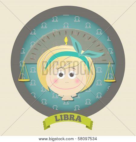 Zodiac signs collection. Cute horoscope - LIBRA.