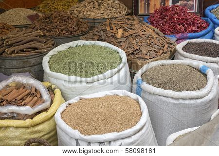 Basic foodstuff on a market in Morocco