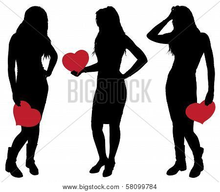 Silhouette Of A Girl Holding A Heart