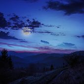 foto of coniferous forest  - mountain steep with coniferous forest in moon light - JPG