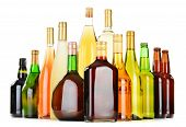 pic of ethanol  - Bottles of assorted alcoholic beverages isolated on white background - JPG