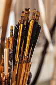 foto of fletching  - a lot of arrows with tail feathers in a medieval fair - JPG