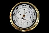 picture of barometer  - Barometer Brass with White Face on a black background - JPG