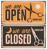 image of barber  - Retro door signs for barber shop - JPG