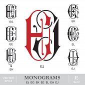 image of initials  - Vintage monogram set - JPG
